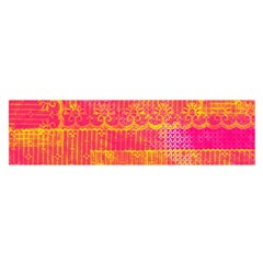 Yello And Magenta Lace Texture Satin Scarf (oblong)