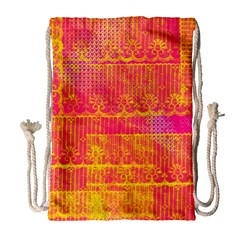 Yello And Magenta Lace Texture Drawstring Bag (large)