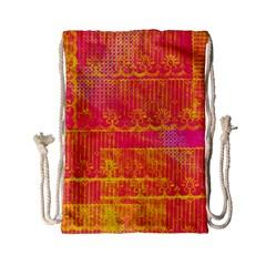 Yello And Magenta Lace Texture Drawstring Bag (small)