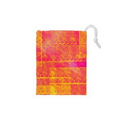 Yello And Magenta Lace Texture Drawstring Pouches (xs)