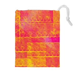 Yello And Magenta Lace Texture Drawstring Pouches (extra Large)