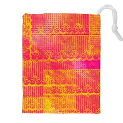 Yello And Magenta Lace Texture Drawstring Pouches (xxl)