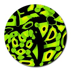 Green neon abstraction Round Mousepads