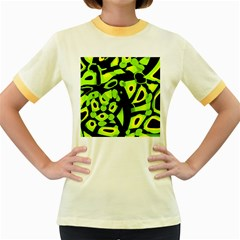 Green neon abstraction Women s Fitted Ringer T-Shirts