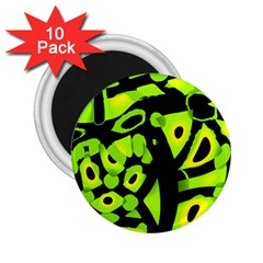 Green neon abstraction 2.25  Magnets (10 pack)