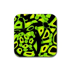 Green neon abstraction Rubber Coaster (Square)