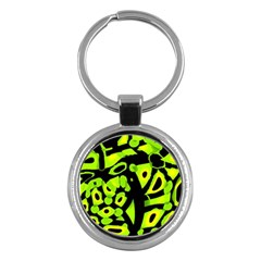 Green neon abstraction Key Chains (Round)