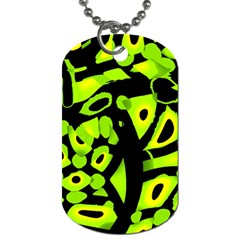 Green neon abstraction Dog Tag (One Side)