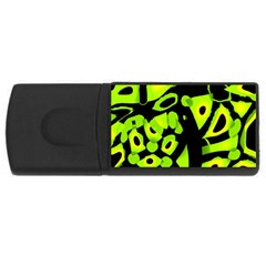 Green neon abstraction USB Flash Drive Rectangular (2 GB)