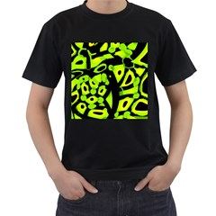 Green neon abstraction Men s T-Shirt (Black) (Two Sided)