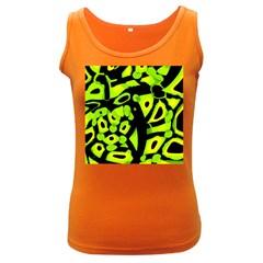 Green neon abstraction Women s Dark Tank Top