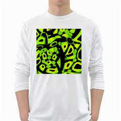 Green neon abstraction White Long Sleeve T-Shirts