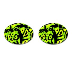 Green neon abstraction Cufflinks (Oval)