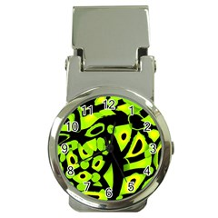Green neon abstraction Money Clip Watches