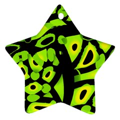 Green neon abstraction Star Ornament (Two Sides)