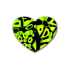 Green neon abstraction Rubber Coaster (Heart)