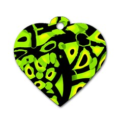Green neon abstraction Dog Tag Heart (Two Sides)