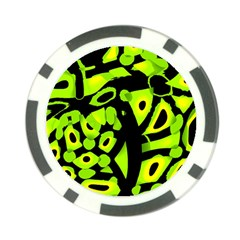 Green neon abstraction Poker Chip Card Guards (10 pack)