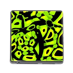 Green neon abstraction Memory Card Reader (Square)
