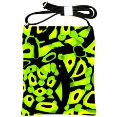 Green neon abstraction Shoulder Sling Bags
