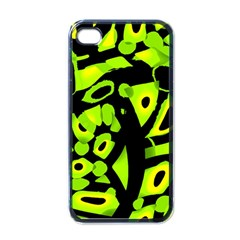 Green neon abstraction Apple iPhone 4 Case (Black)
