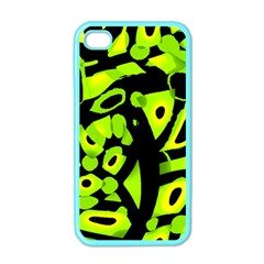 Green neon abstraction Apple iPhone 4 Case (Color)