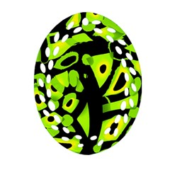 Green Neon Abstraction Oval Filigree Ornament (2 Side)