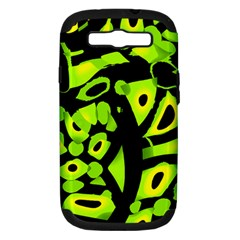 Green neon abstraction Samsung Galaxy S III Hardshell Case (PC+Silicone)