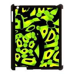 Green neon abstraction Apple iPad 3/4 Case (Black)