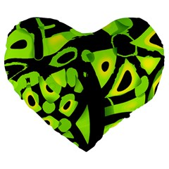 Green neon abstraction Large 19  Premium Heart Shape Cushions