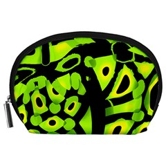 Green neon abstraction Accessory Pouches (Large)