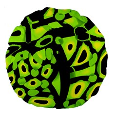 Green neon abstraction Large 18  Premium Flano Round Cushions