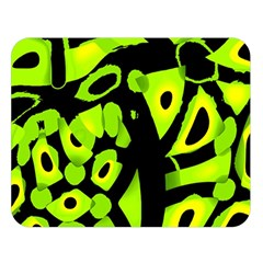 Green neon abstraction Double Sided Flano Blanket (Large)