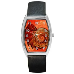 Nautilus Shell Abstract Fractal Barrel Style Metal Watch
