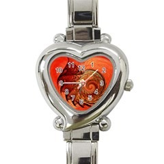 Nautilus Shell Abstract Fractal Heart Italian Charm Watch