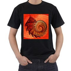 Nautilus Shell Abstract Fractal Men s T Shirt (black) (two Sided)