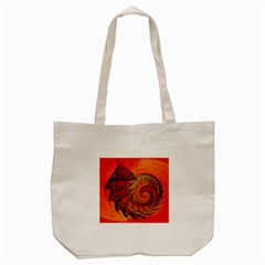 Nautilus Shell Abstract Fractal Tote Bag (cream)