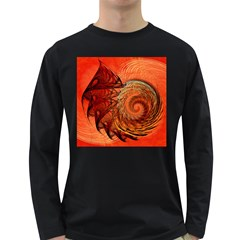 Nautilus Shell Abstract Fractal Long Sleeve Dark T Shirts