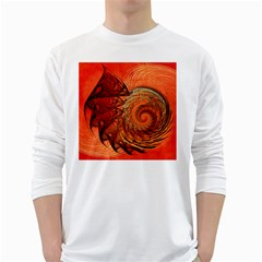 Nautilus Shell Abstract Fractal White Long Sleeve T Shirts