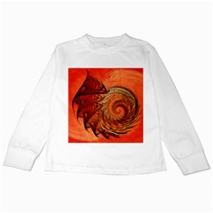 Nautilus Shell Abstract Fractal Kids Long Sleeve T Shirts