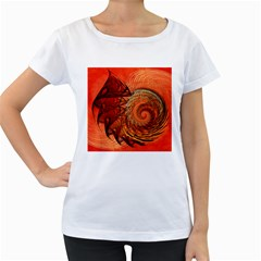 Nautilus Shell Abstract Fractal Women s Loose Fit T Shirt (white)