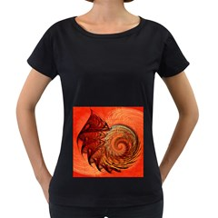Nautilus Shell Abstract Fractal Women s Loose Fit T Shirt (black)