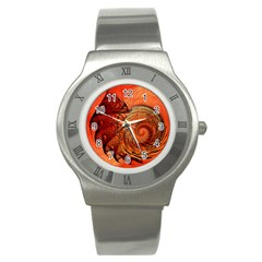 Nautilus Shell Abstract Fractal Stainless Steel Watch