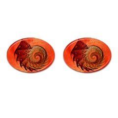Nautilus Shell Abstract Fractal Cufflinks (oval)