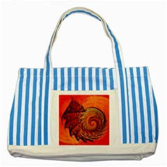 Nautilus Shell Abstract Fractal Striped Blue Tote Bag