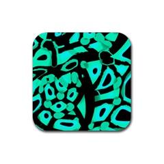Cyan design Rubber Coaster (Square)