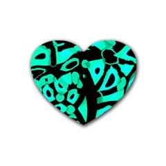 Cyan design Rubber Coaster (Heart)