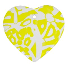 yellow sunny design Heart Ornament (2 Sides)