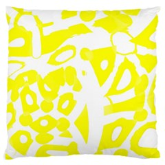yellow sunny design Large Cushion Case (Two Sides)