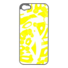 yellow sunny design Apple iPhone 5 Case (Silver)
